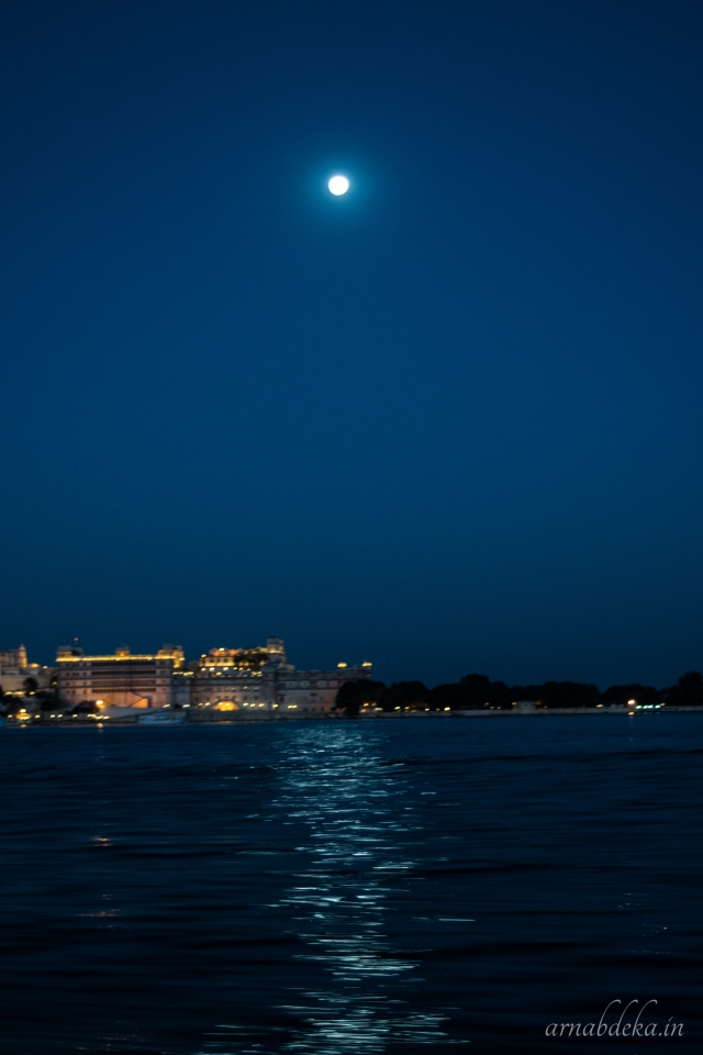 Moon light over Lake Pichola Udaipur